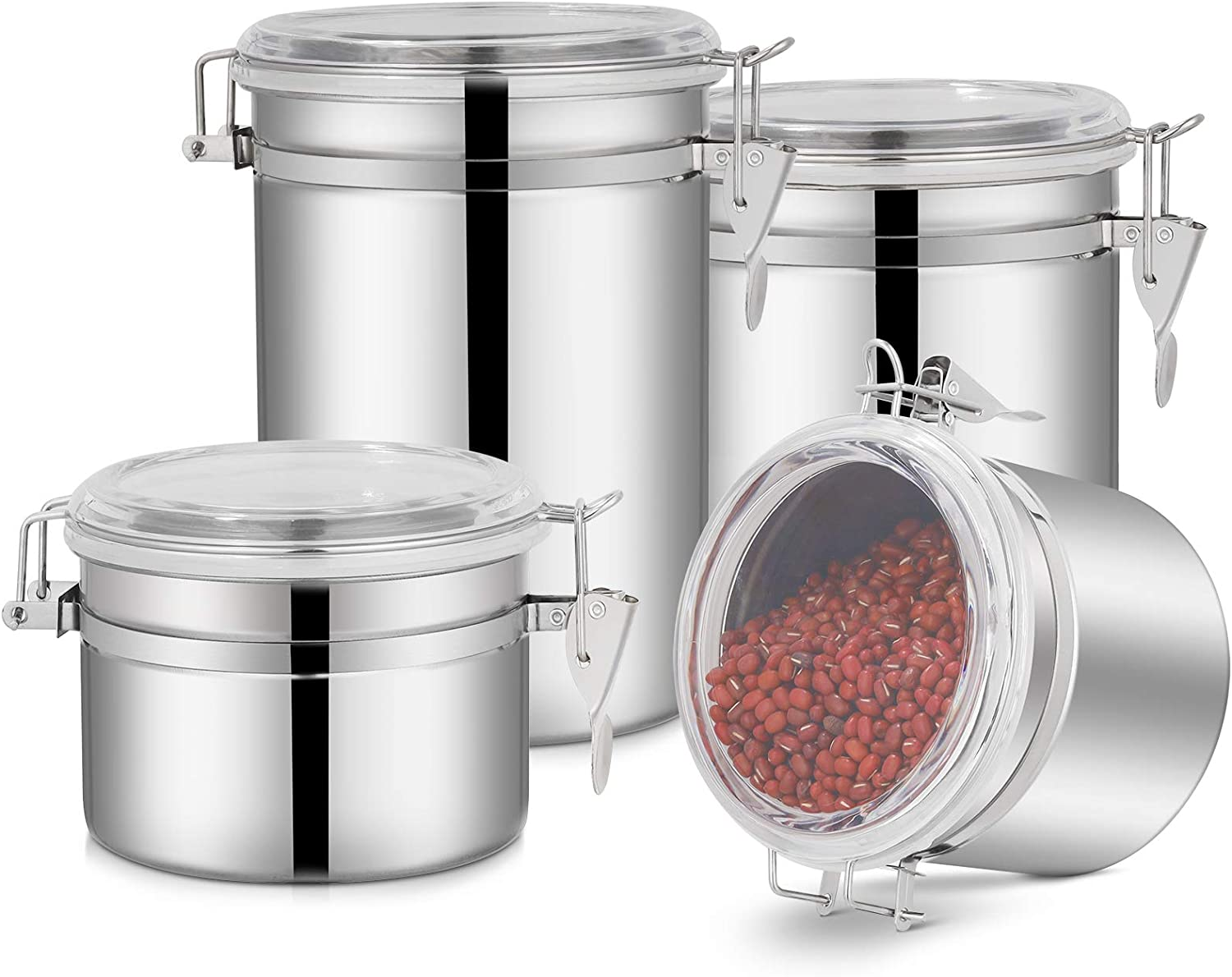 4-Piece Stainless Steel Airtight Canister Set, Food Storage Container Jars for Kitchen Counter, Flour Coffee Bean Tea Cereal Sugar Cookie Storage Canister with Clear Acrylic Lid & Locking Clamp