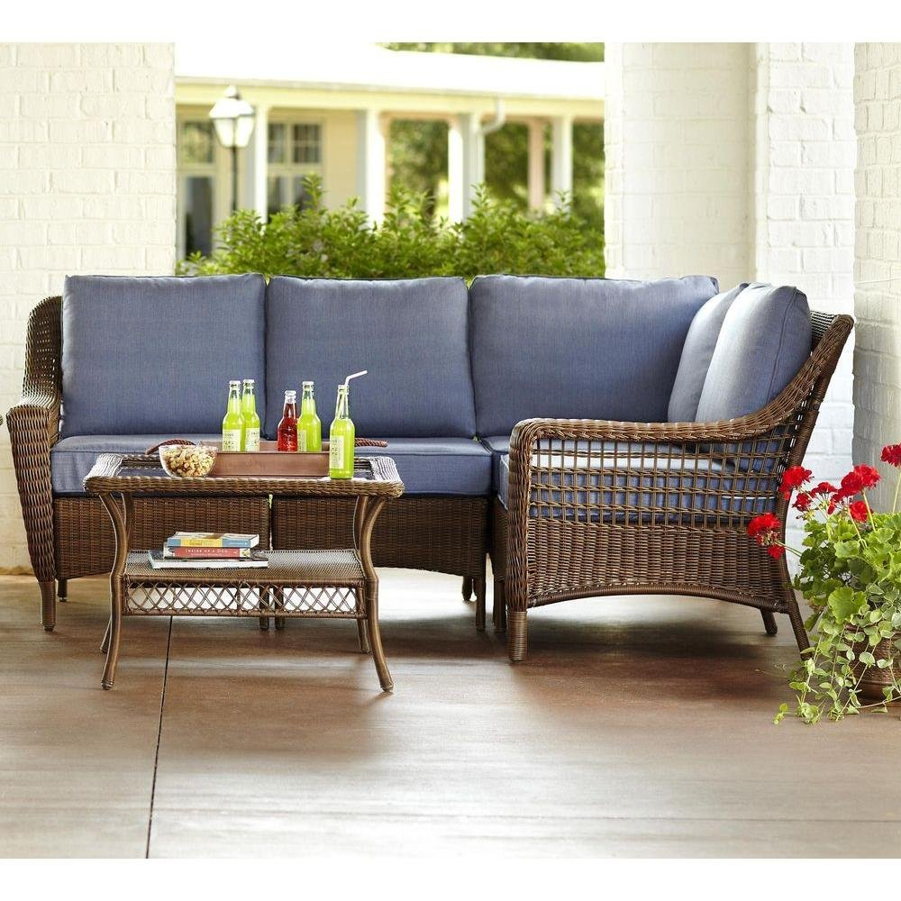 Amazon.com: Spring Haven Brown All Weather Wicker 5 Piece Patio Sectional  Seating Set With Sky Cushions: Garden U0026 Outdoor