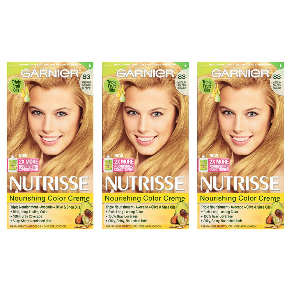 Garnier Nutrisse Nourishing Hair Color Creme, 83 Medium Golden Blonde (Cream Soda), 3 Count (Packaging May Vary)