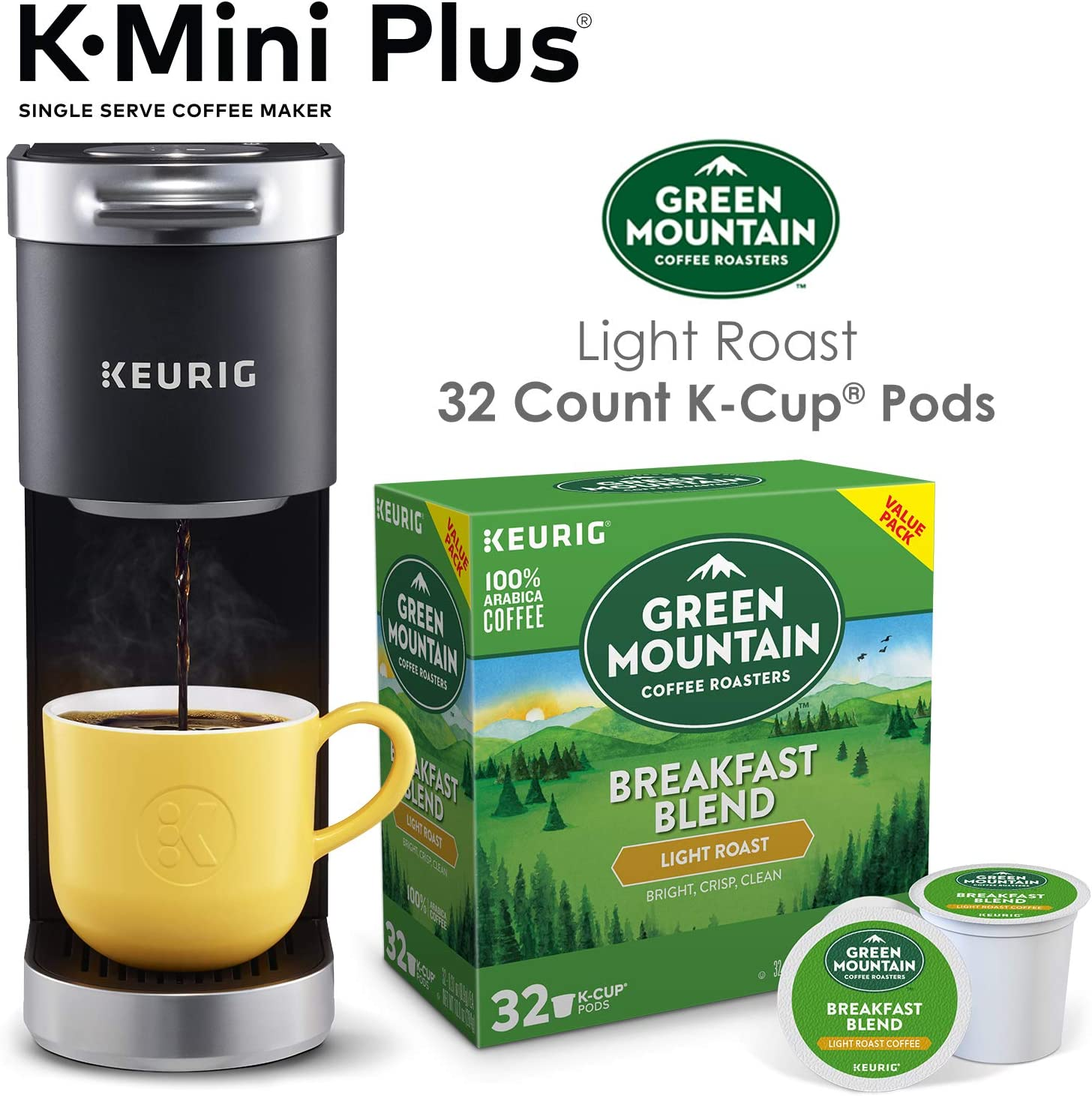 Keurig K-Mini Plus Single Serve Coffee Maker with Green Mountain Breakfast Blend Coffee Pods, 32 count