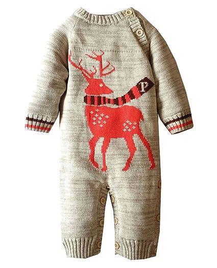caaaa8fb4b3f Amazon.com  Baby Bunting Winter Deer Knitted Bodysuit Warm Rompers ...