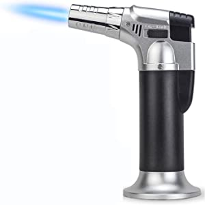 Blow Torch,Cooking Torch Professional Butane Torch Lighter with Safety Lock with Safety Lock & Gas Window Gauge for Baking, Brulee Creme, BBQ & Crafts(Butane Gas not Included)