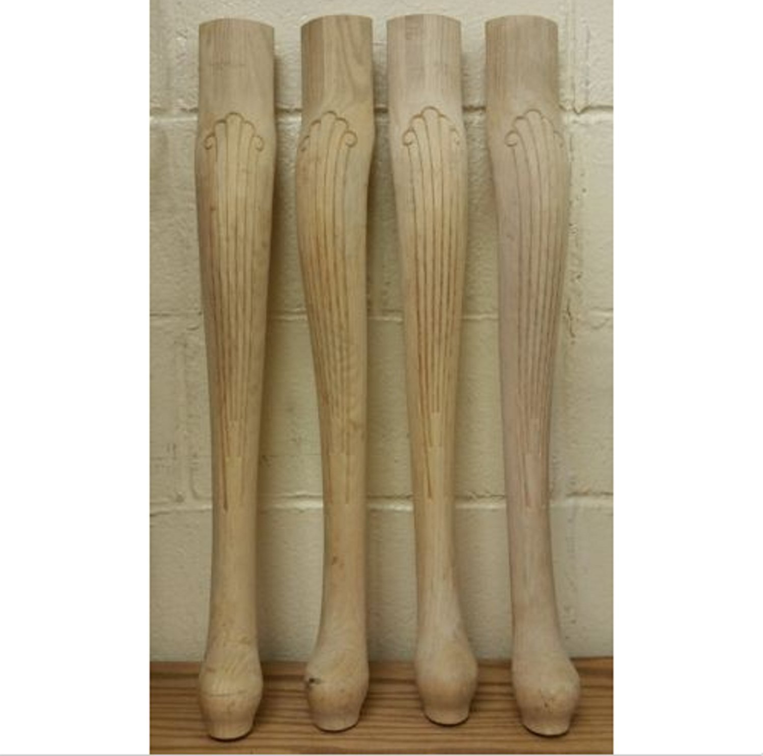 USA Premium Store Set of 4 Unfinished Oak Table Legs Queen Anne Style 26 1/4'' x 3 7/8''