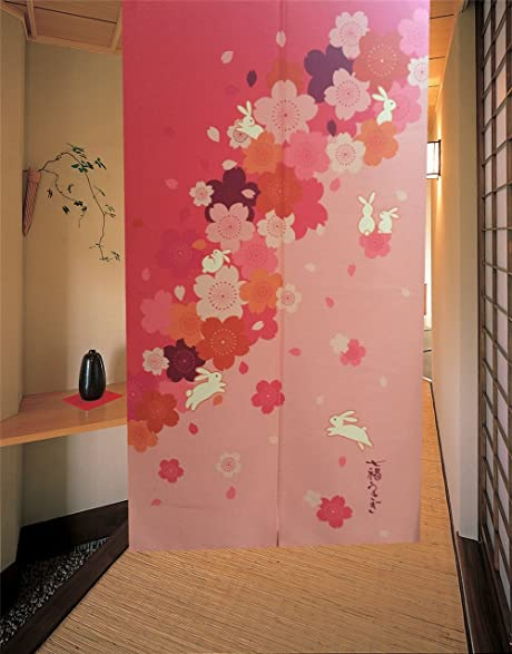 Noren Japanese Doorway Curtain 85x150cm Curtains Fishes Door Style 16 (Red)