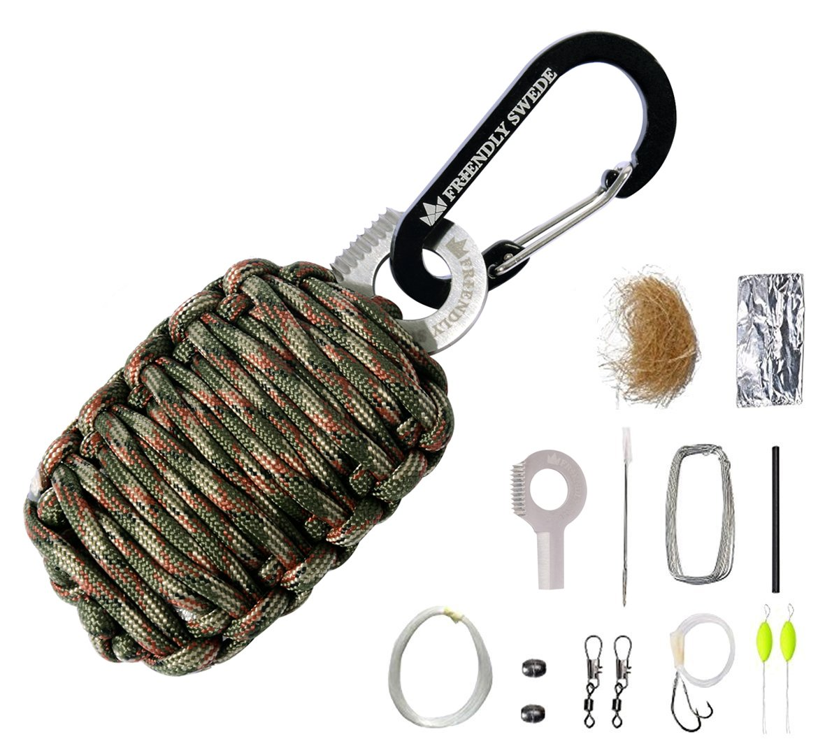 The Friendly Swede Carabiner Grenade Survival Kit in Paracord with Eye Knife