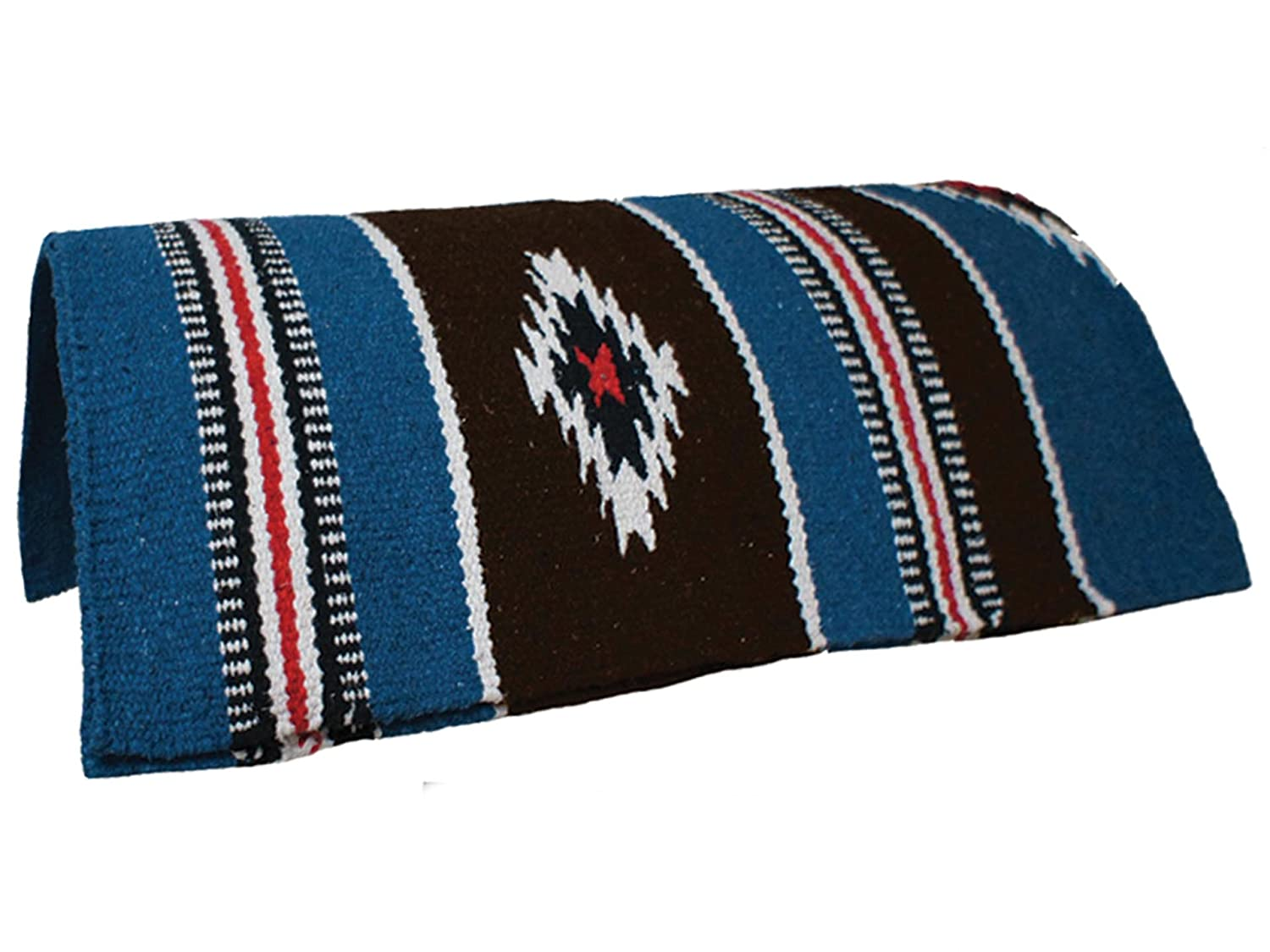 bluee Rust White Navajo Ancient Design Saddle Blankets Hand Woven 32 x64  by Tahoe