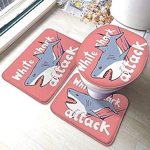 3 Piece Bathroom Anti-Skid Pads Sketch White Shark Attack Anti-Skid Pads Bath Mat+Includes U-Shaped Contour Toilet Mat, Bath Mat and Toilet Lid Cover Contour+Toilet Lid Cover