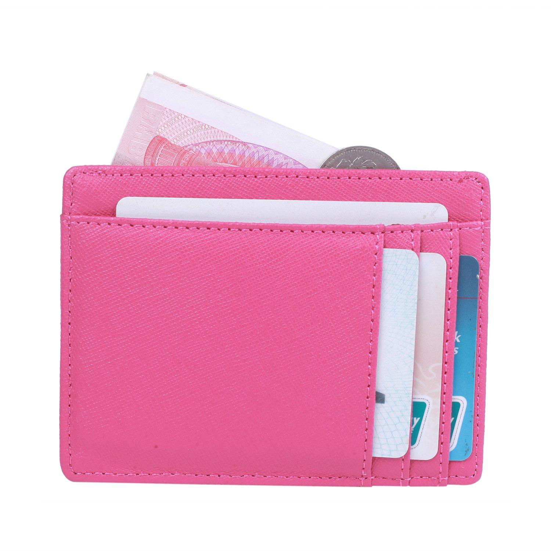 HONEYJOY Leather Slim Wallet Credit Card Case Minimalist Money Clip Wallet Card Holders with RFID Blocking (Rose Red)