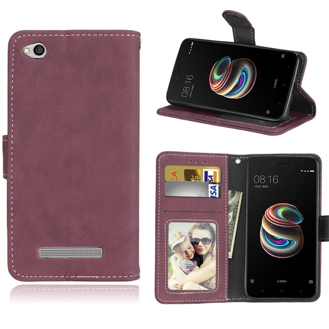 HiKing Para Xiaomi Redmi 5A Funda, Cuero De La PU Magné tico Capirotazo Billetera Apoyo Bumper Protector Cover Funda Carcasa Case, Retro Frosted 3 Card Slots - Gris