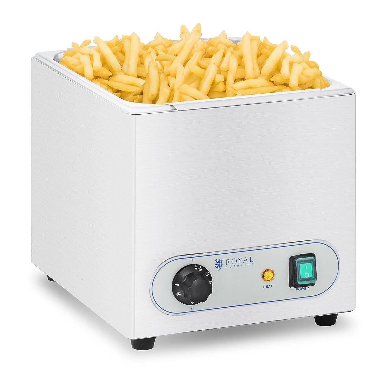 Royal Catering RCWG-1500-W Calentador de Patatas Fritas para Hostelería (350 Watt, Rango de temperatura 30-90 °C, Acero inoxidable, Termostato)