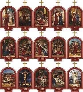 Amazon.com: Fine Italian Cherry 14 Stations of the Cross Set ...