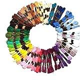 Lot de 100 Échevettes de Fil de Coton de 8 Mètres avec Motif Rayé pour Couture Broderie par Kurtzy - Couleurs Assorties - 6 Brins - Ultra Résistants - Assortiment de Bobines pour Broder le Tissu
