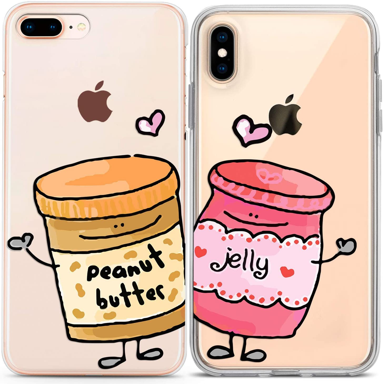 Lex Altern Couple Cases Compatible with iPhone 12 Pro Max 11 Mini SE Xr Xs 8 Plus 7 6 Protective Kawaii Peanut Butter Matching Cover Cute Best Friend Jelly Soulmate Lightweight Flexible Food Bread