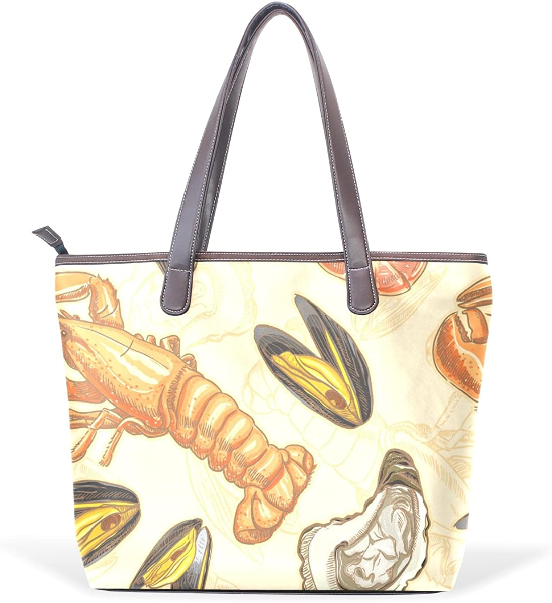 Sunlome Seafood Shrimp Scallop Pattern Handbags For Women Girls PU Leather Shoulder Tote Bag