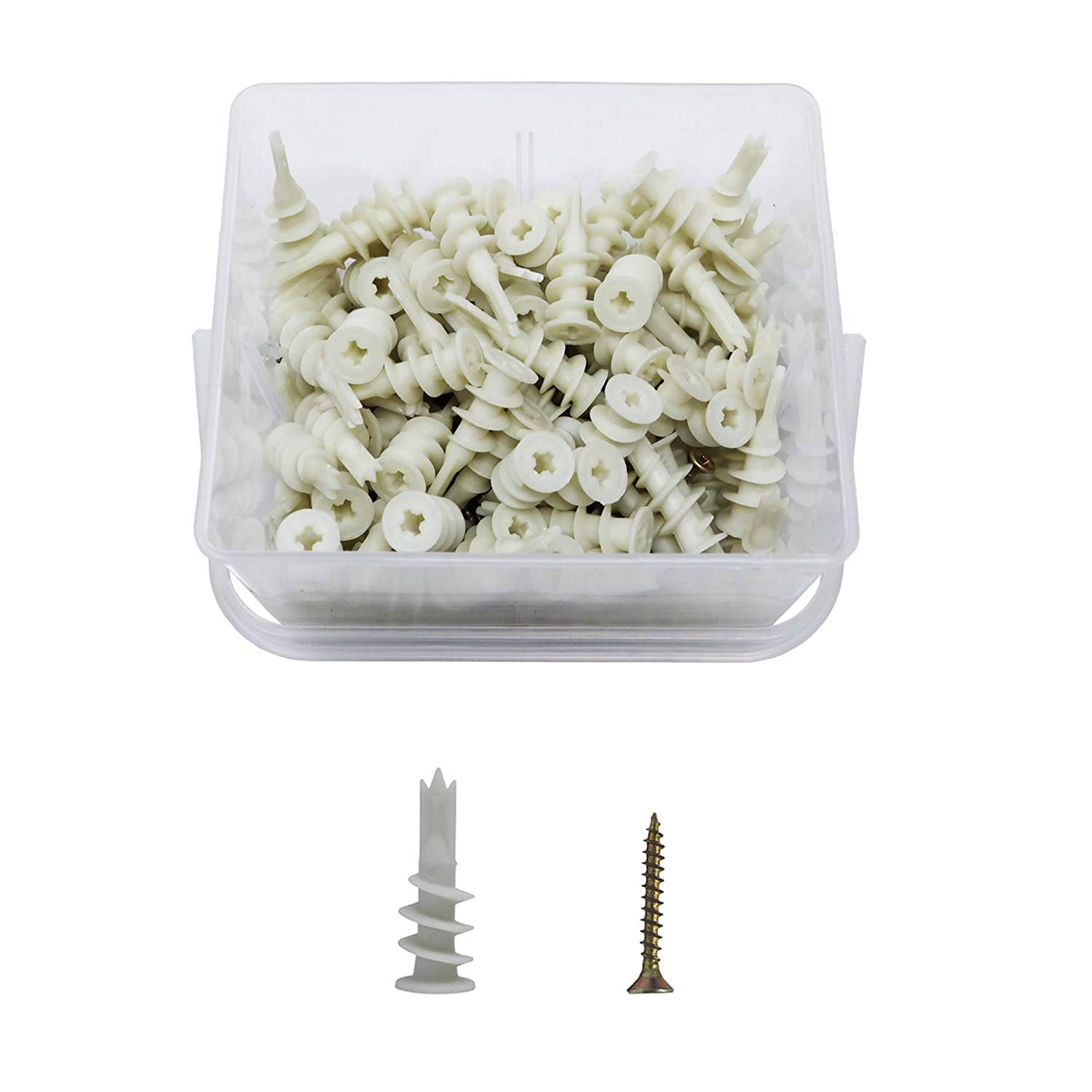ORGRIMMAR Drywall Anchor 14x41mm Self Drilling Plastic Hollow Wall Anchor Three Sharp Design Nylon Plug and Chipboard Screws 4.0x30mm Assortment Kit,200 Pcs