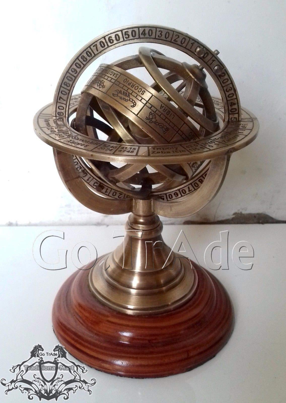 Shaheera Nautical 5'' Engraved Brass Tabletop Armillary Nautical Sphere Globe Gift A