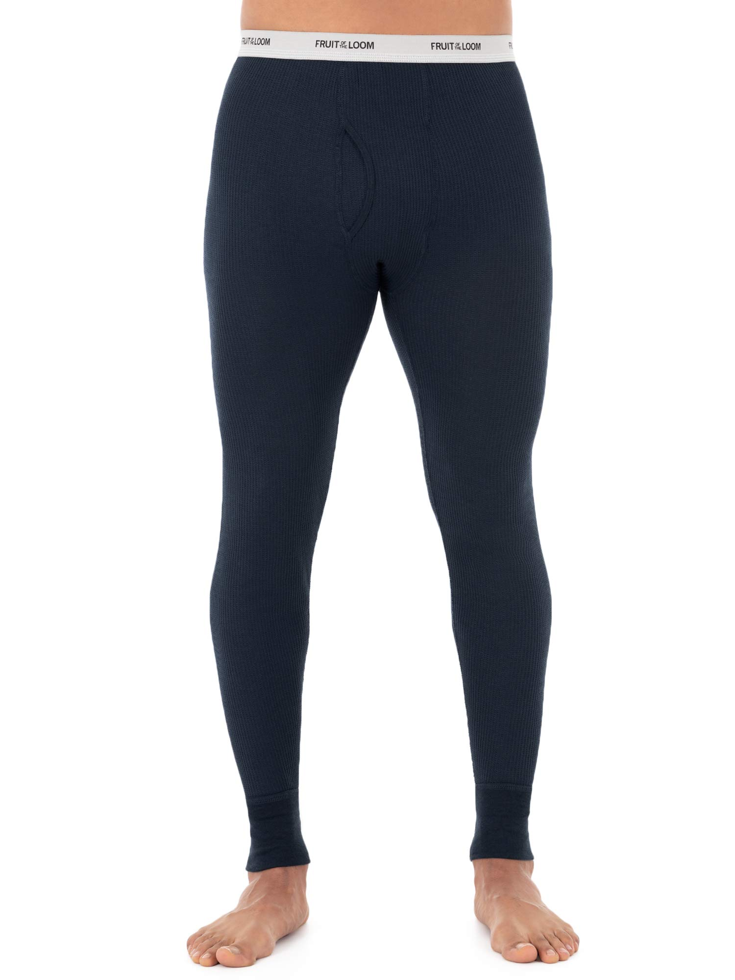 Fruit of the Loom Men's Classic Midweight Waffle Thermal Underwear Bottoms (1 &2 Packs), Navy, 4X-Large by Fruit of the Loom