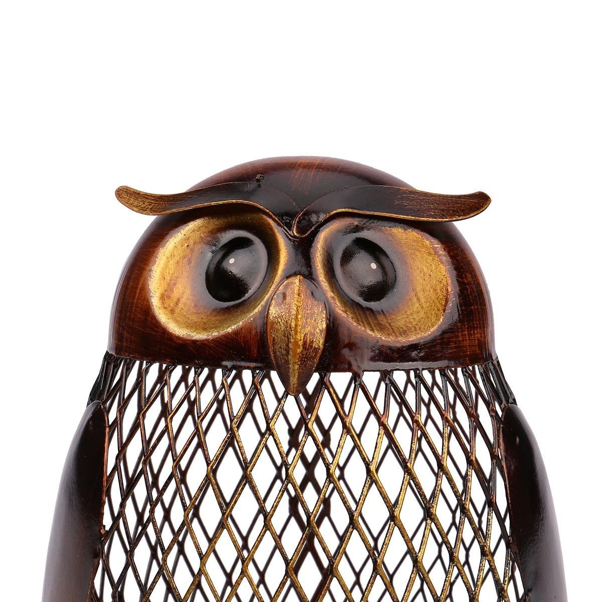 SGerste Tooarts Tirelire en m/étal faite main en forme de hibou confection artisanale