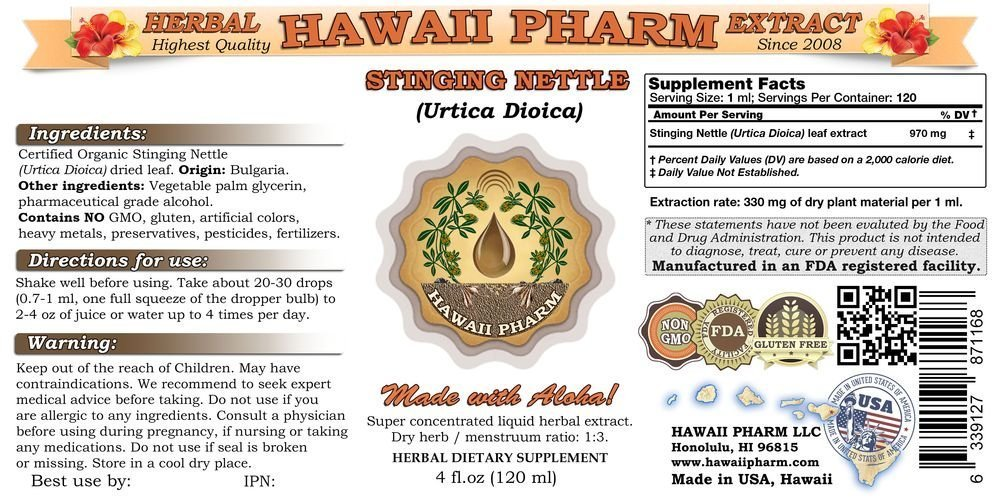 Stinging Nettle Liquid Extract, Organic Stinging Nettle (Urtica Dioica) Dried Leaf Tincture, Herbal Supplement, Hawaii Pharm, Made in USA, 32 fl.oz by HawaiiPharm (Image #2)