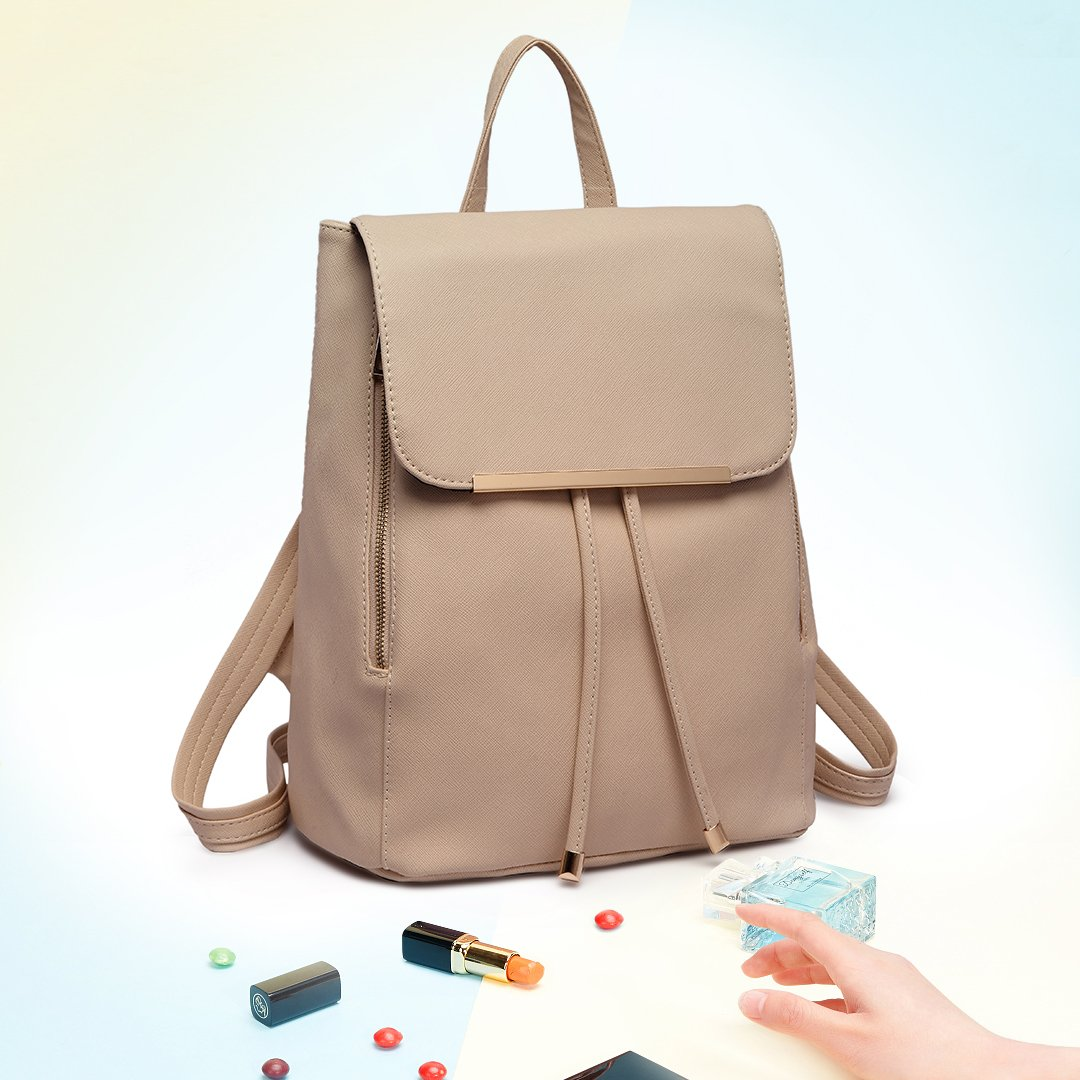 Miss Lulu Ladies Fashion PU Leather Backpack Rucksack Shoulder Bag Black