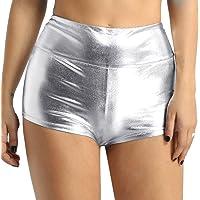 iixpin Pantalones Cortos Metálico Brillante Mujer Sexy Mini