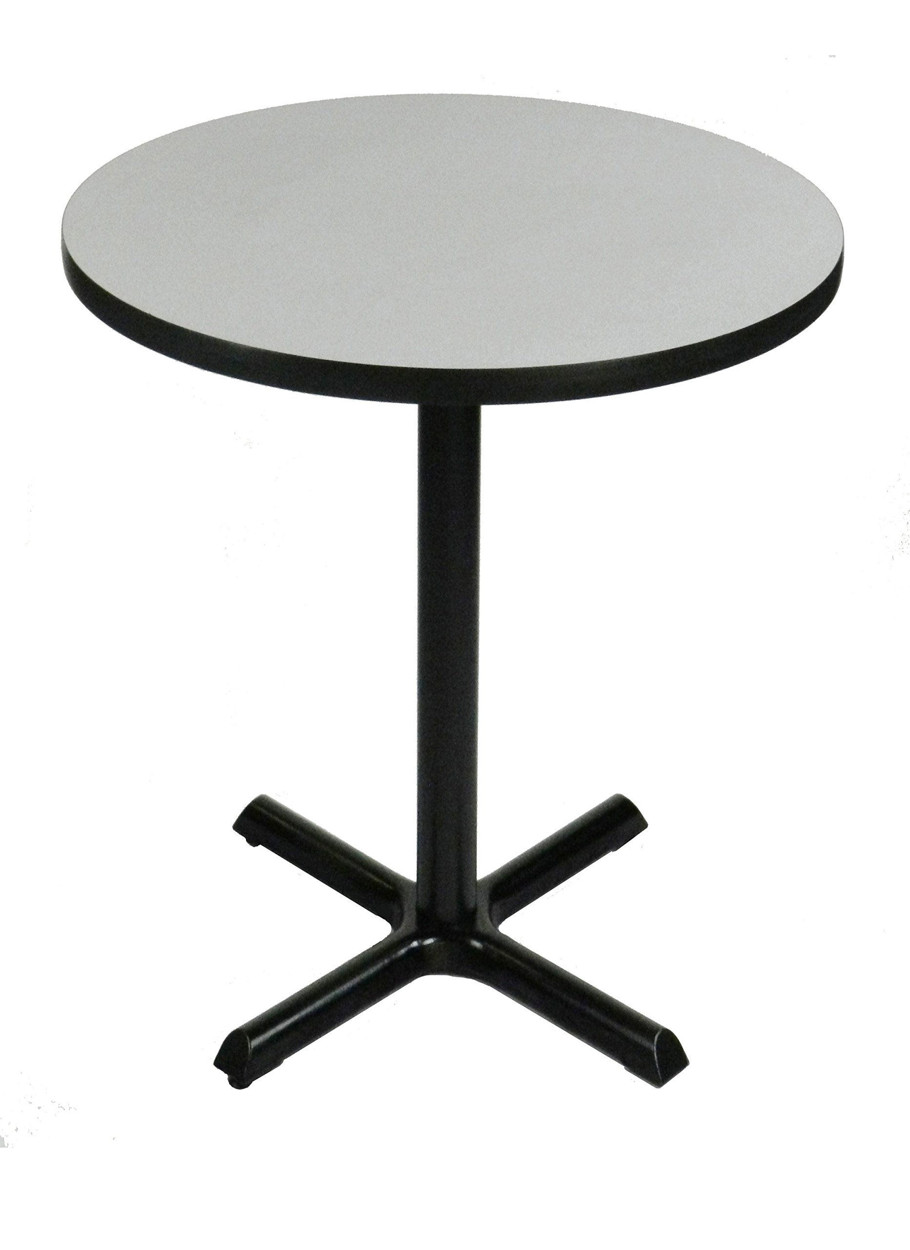 Correll BXB42R-15 -42'' Round 42'' Standing / Barstool Height , Café, & Break Room Table, Gray Granite Top & Black Base, Made in the USA