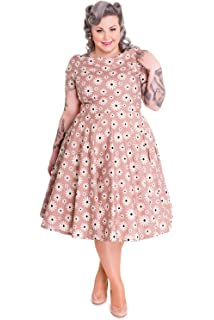 3ff875c1a689 Hell Bunny Plus 50s Lovely Lady Daisy Floral Polka Dot Party Dress Latte  Brown