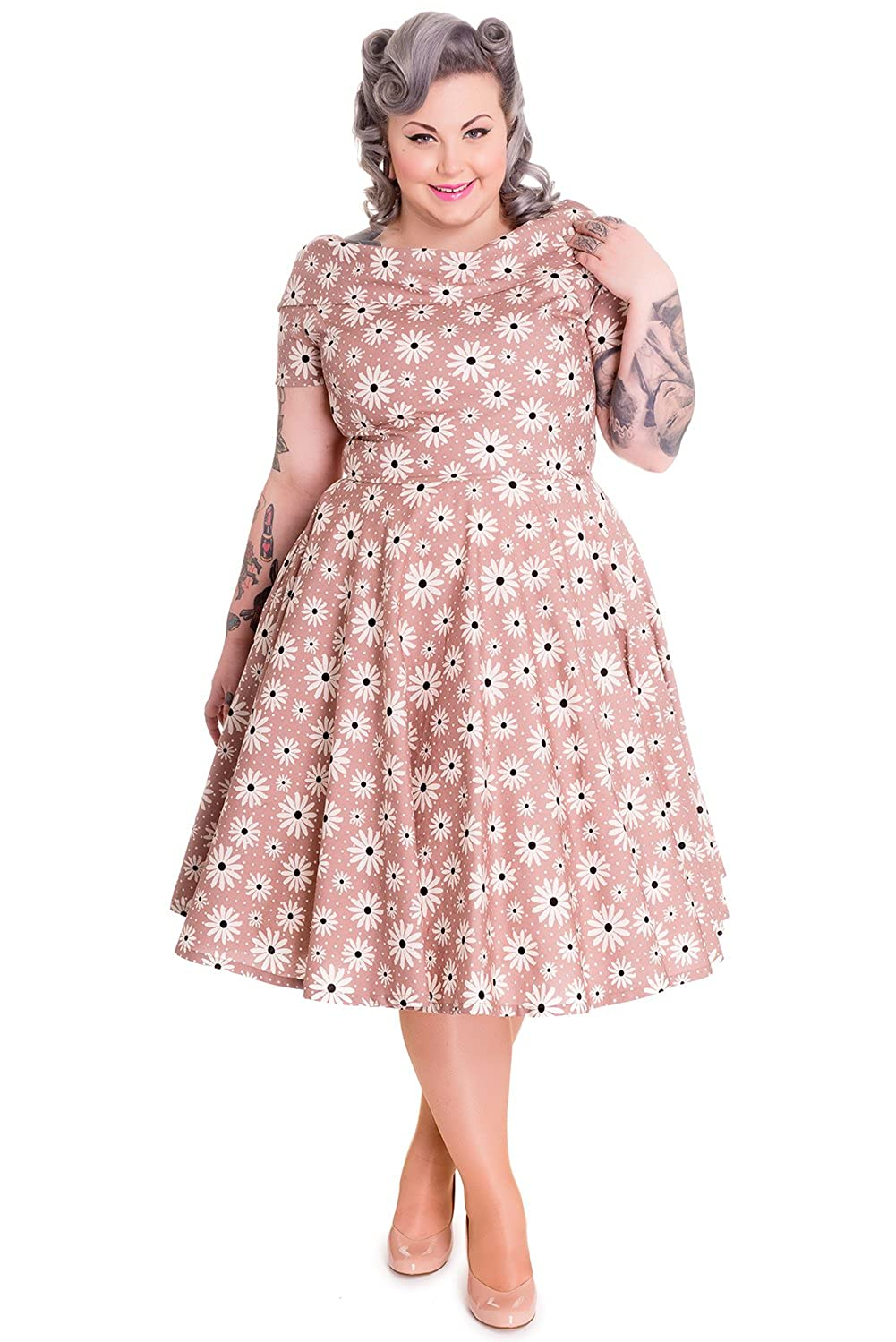 1950s Plus Size Dresses, Swing Dresses Hell Bunny Plus 50s Lovely Lady Daisy Floral Polka Dot Party Dress Latte Brown $78.00 AT vintagedancer.com
