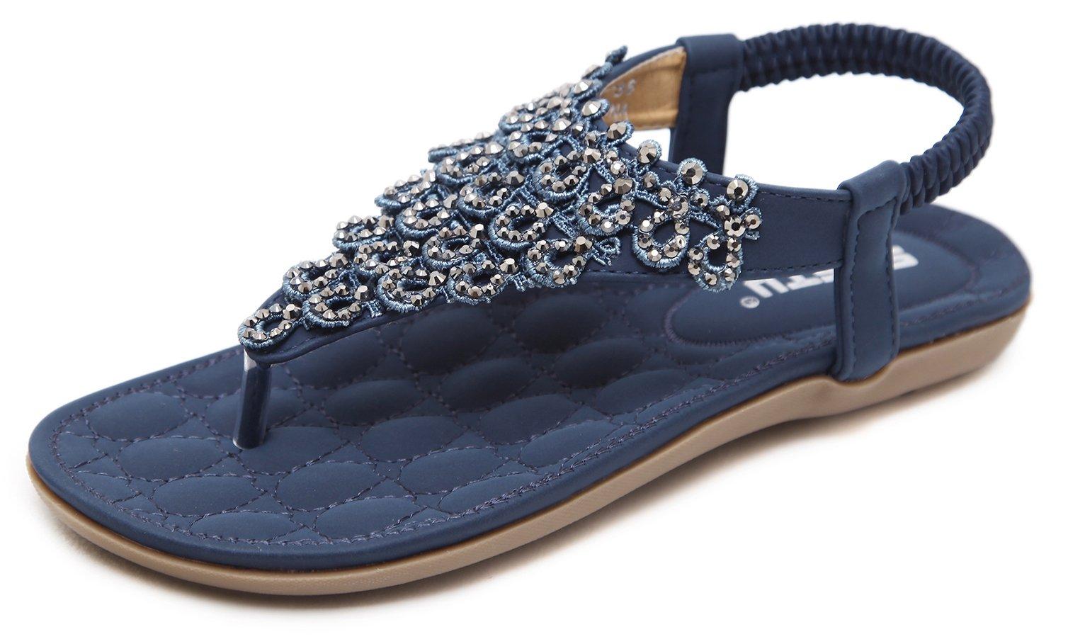 Women's Glitter Thong Flat Sandals, Navy Blue Holiday T-Strap Flip Flops Bohemian Floral Rhinestones Rivets Comfy Elastic Back Strap, Anti Skid Cushioning Low Top Beach Wear Shoes 2018 Summer Match,Navy Blue,8 M US