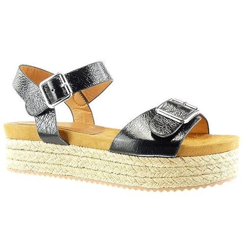 Angkorly - Zapatillas Moda Sandalias Alpargatas Plataforma Mujer Brillantes Tanga Hebilla Plataforma 4.5 CM: Amazon.es: Zapatos y complementos