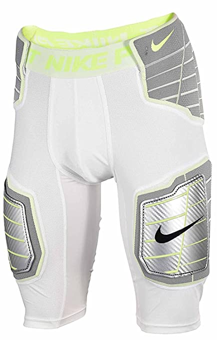 Nike Pro Combat Hyperstrong Compression Hard Plate Football (Medium, WHITE/ WHITE/VOLT