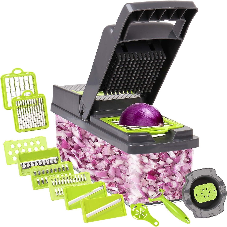 Mandoline Slicer, Vegetable Chopper, Vegetable Slicers, Food Chopper, Veggie Chopper, Salad Chopper, Onion Cutter, Potato Slicer 13 in 1 Nutri Chopper, Chopper Vegetable Cutter