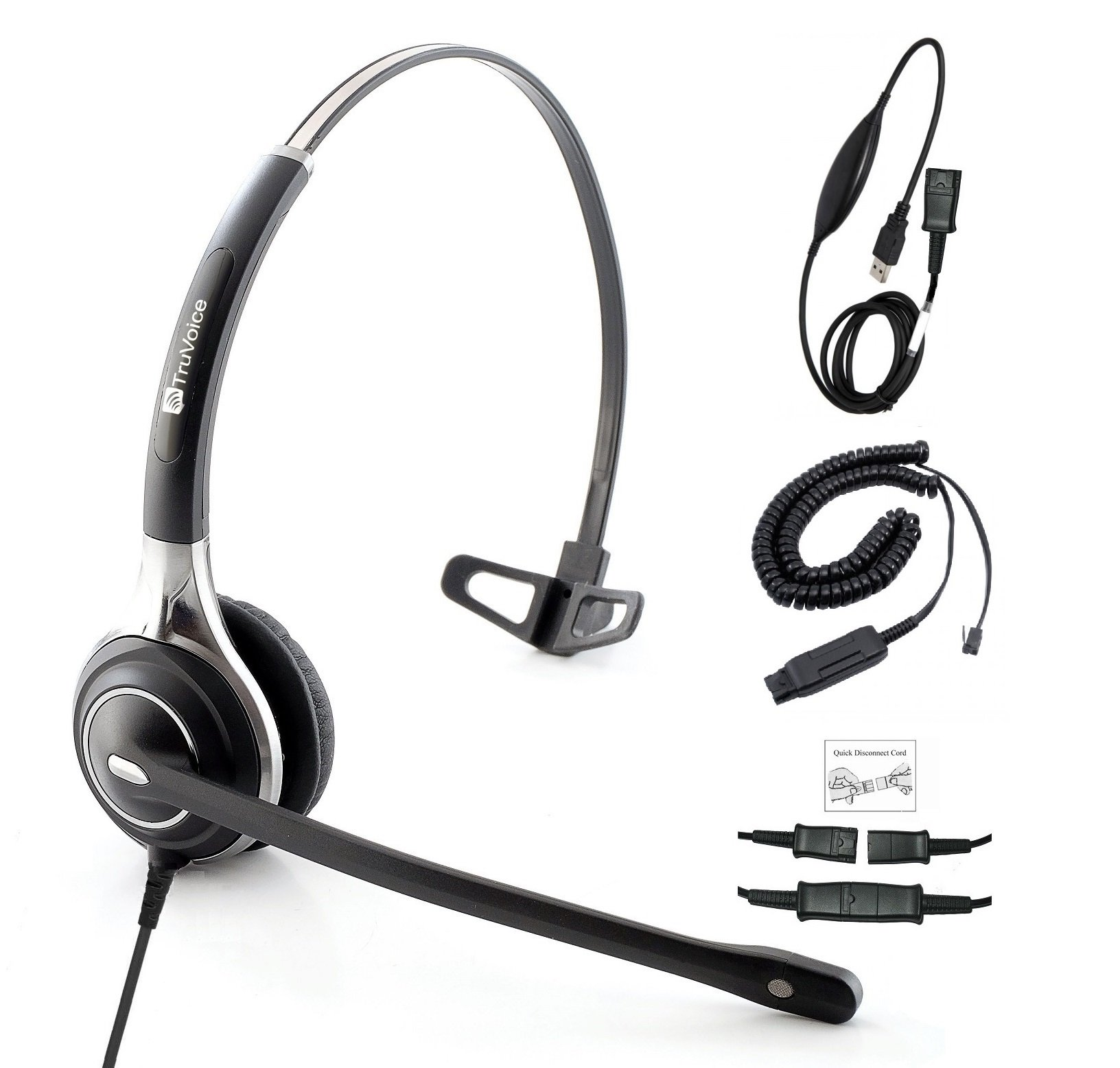 Premium Single Ear Ultra Noise Canceling Call Center Headset With USB and QD Cable For Avaya IP 1608, 1616, 9601, 9608, 9611, 9611G, 9620, 9620C, 9620L, 9621, 9630, 9640 and also with PC or Softphone