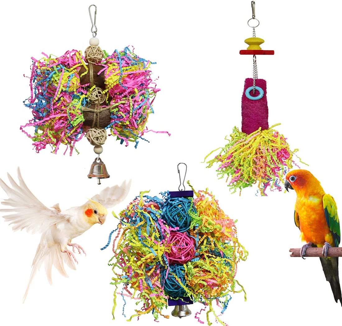 BWOGUE Bird Chewing Toys Parrot Shredder Toy Shred Foraging Hanging Cage Toy for Conure Cockatiel African Grey Amazon (3 Pack)