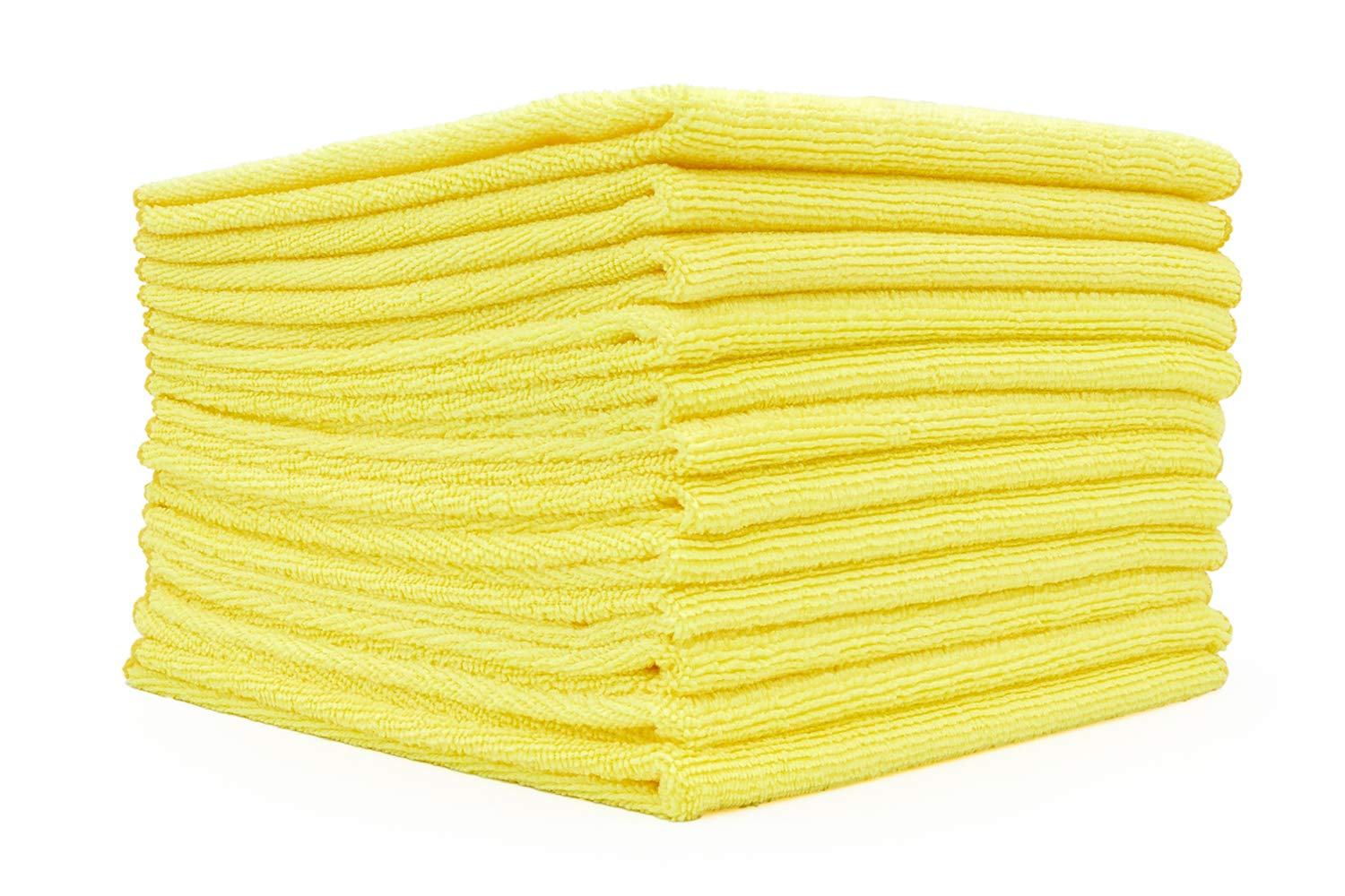 (12-Pack) 12 in. x 12 in. Commercial Grade All-Purpose Microfiber Highly Absorbent, LINT-Free, Streak-Free Cleaning Towels - THE RAG COMPANY (Yellow) by The Rag Company