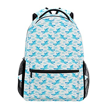 Amazon.com  Fashion School Backpack Cute Unicorns Blue And White Casual  Daypack Large College Bookbag Slim Business Backpack Classic Travel  Computer Bag 8ca09cc7ce586