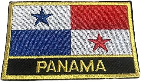 PANAMA Flag Iron-On Patch Tactical Morale Emblem Black Border Version III