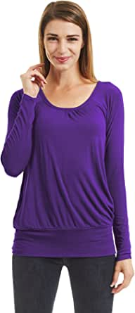 Lock and Love LL Womens Ombre Long Sleeve Front and Back Shirring Raglan Top - Made in USA