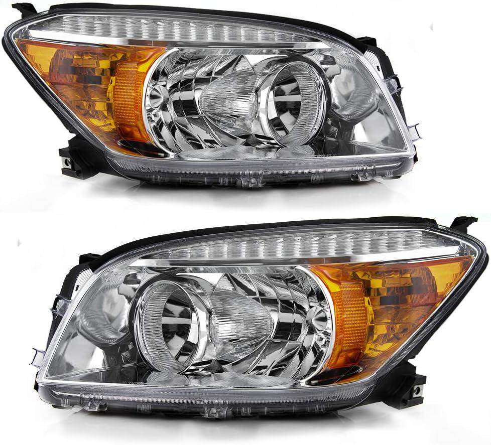 ACANII For Chrome 2006 2007 2008 Toyota RAV4 Headlights Headlamps Replacement 06-08 Driver /& Passenger Side