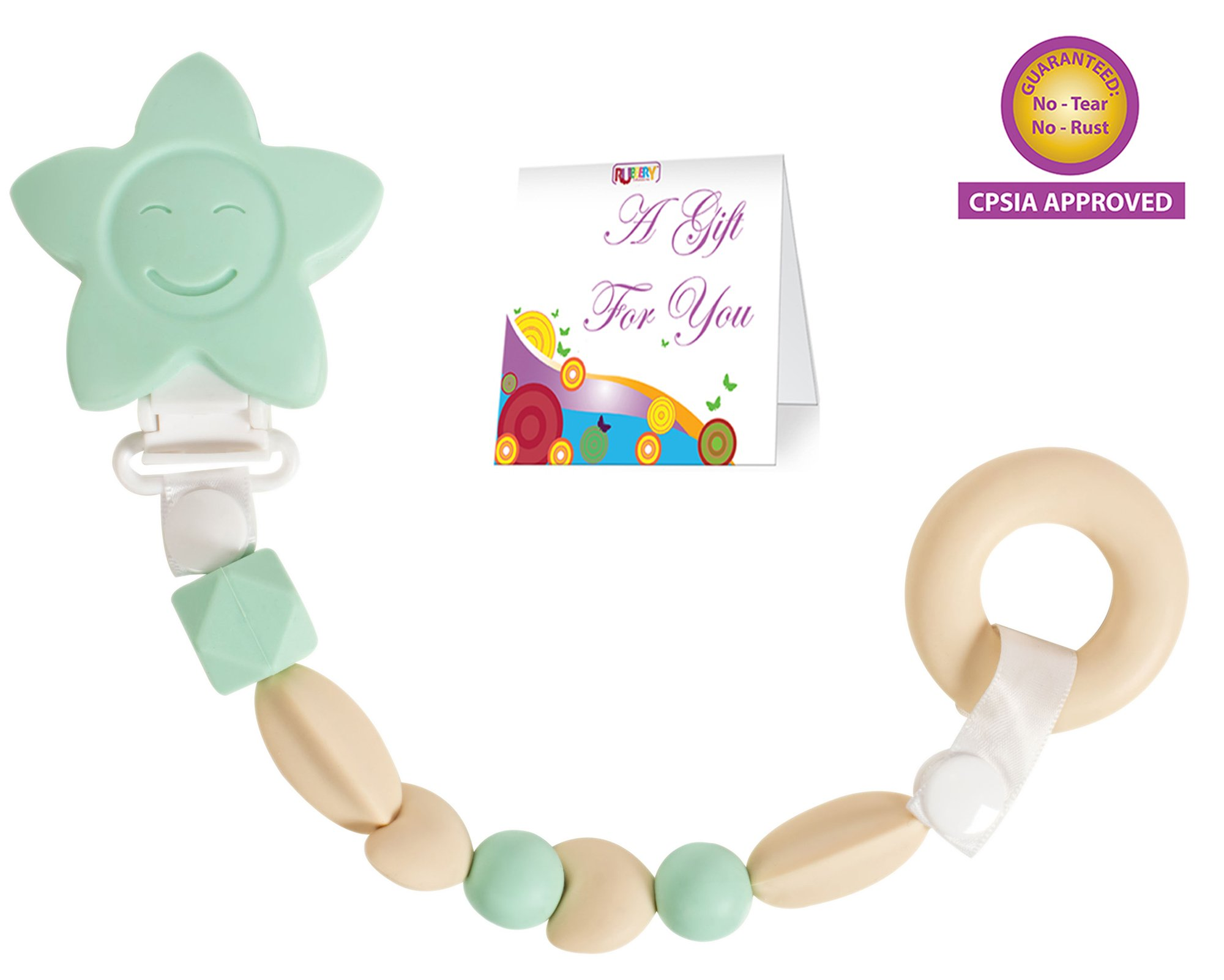 Teether Toy Pacifier Clip - Baby Girl or Boy Star Beaded Silicone Teething Toy and Pacifier Clip - Circle Theether Included - Mint Green Blue Color - Greeting Card Included for Baby Gifts by Rubbery Enhances me