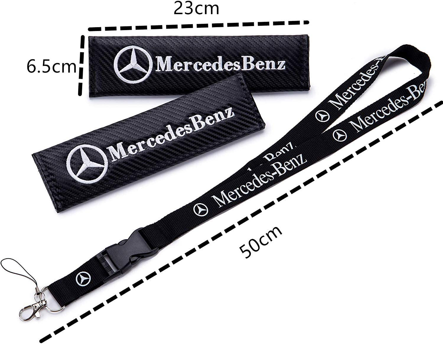 Kingshun Car Seat Belt Cover Pads for Ben z Carbon Fiber Car Safety Belt Cover Neck Shoulder Cushion Pads with Keychain Lanyard Badge Holder Cars Accessorices for Adults and Children 3 Pack