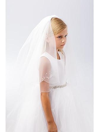 6ef21d6c355d Amazon.com: Girls White Crystal Floral Motif Detailed Communion Flower Girl  Veil: Clothing