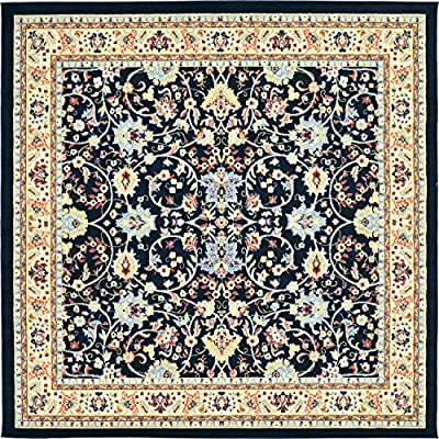 Unique Loom Kashan Collection Traditional Floral Overall Pattern with Border Area Rug