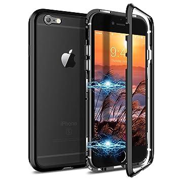 CE-Link Funda iPhone 6 Funda iPhone 6s, Carcasa Fundas Magnética Cubierta de Trasera de Vidrio Templado Transparente con Metal Parachoque Imanes ...