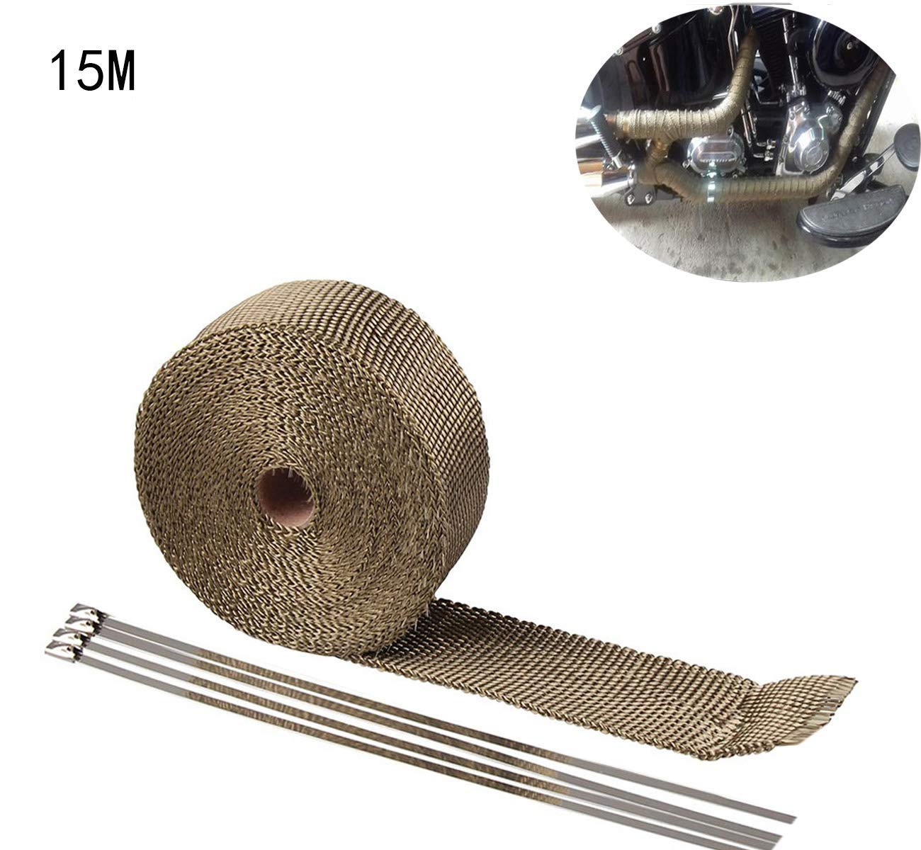 15m Nastro Termico Isolante in fibra di vetro per tubi di scarico per motocicli 10 pezzi Flange isolamento per avvolgimento Collettore di scarico moto Colore Oro antico