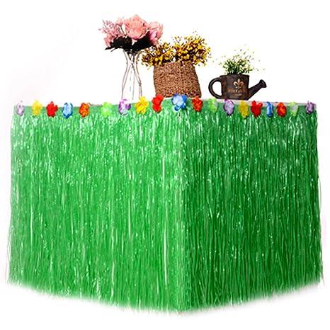 Enjoygoeu Falda de Mesa Hawaiana Decoración de Fiesta de Hierba con Flores de Hibisco de Verano