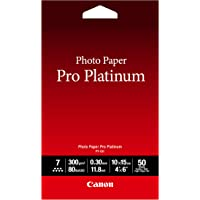 Canon Photo Paper Pro Platinum, 4 x 6 Inches, 50 Sheets (2768B014)