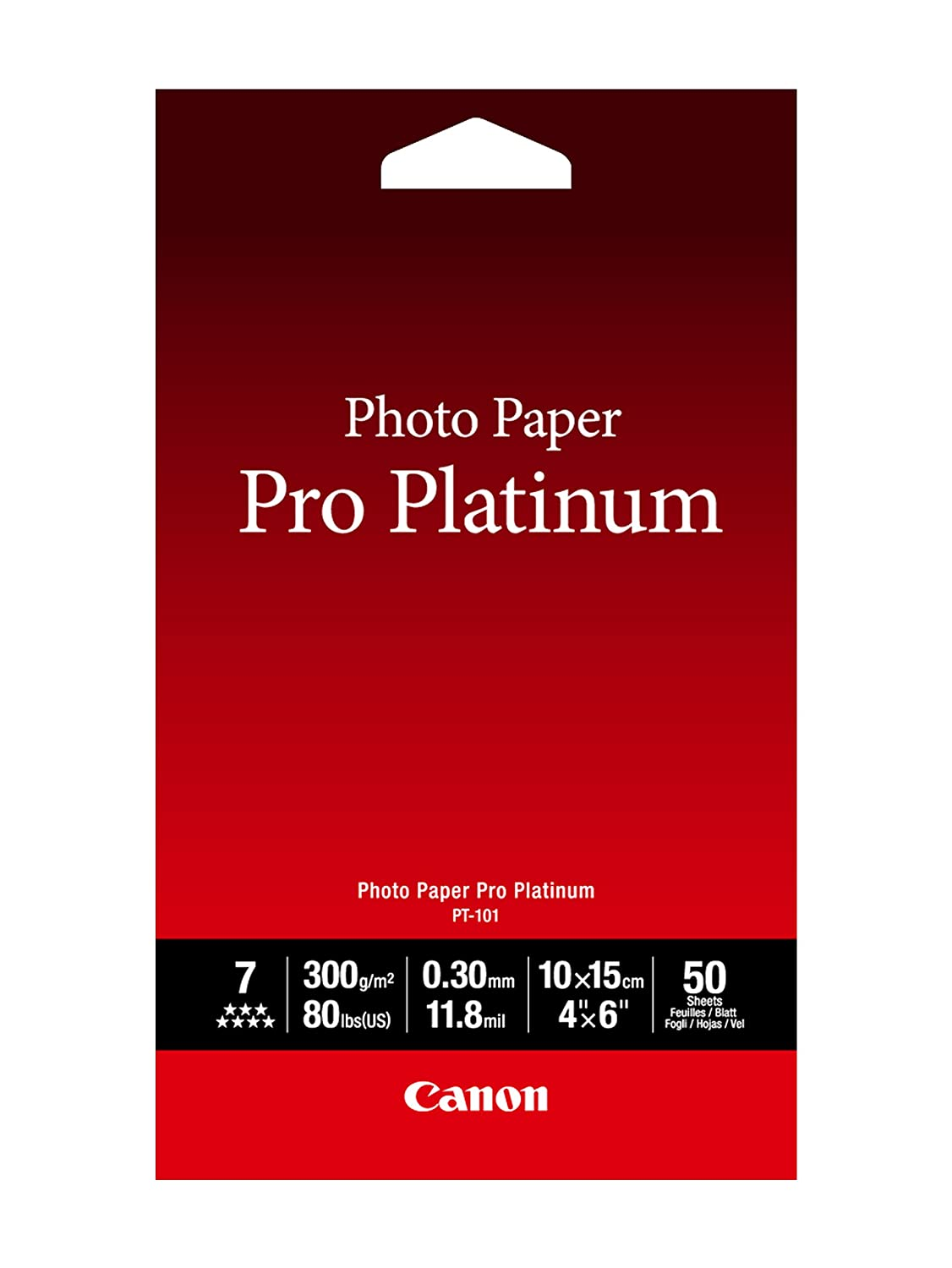 Canon PT-101 4-Inch x 6-Inch Photo Paper Pro Platinum (20 Sheets/Package) - 2768B013 Office Supplies