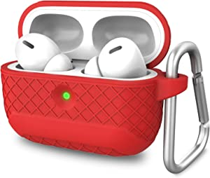 AMENQ AirPods Pro Case Cover, [2019 Release] Soft Silicone Protective Carrying Case Skin with Texture Grip Design for Apple Airpod Pro Charging Case (Front LED Visible) -Red