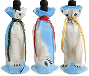 3pc Christmas Wine Bottle Covers White Polar Bear Santa Claus Red Wine Bottle Cover Bags Dinner Party Table Xmas Decor
